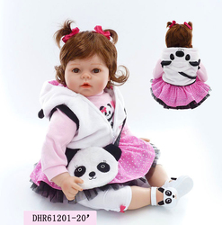NPKCOLLECTION reborn baby doll soft real gentle touch silicone with cute Panda bags toys for kids on Birthday and Christmas