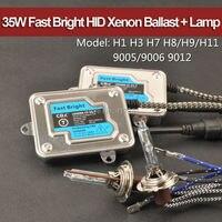 35 W V1T Brilhante Rápido ESCONDEU Fino Lastro + Alta Brilhante Xenon lâmpada H1 H3 H7 H8/H9/H11 9005/9006 9012 5500 K para Farol 2 pçs/lote