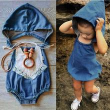 Girls ' Clothing Baby Hooded Girls Boys Denim Briefs Romper With Cap Pant Vest Jumpsuits Y1207