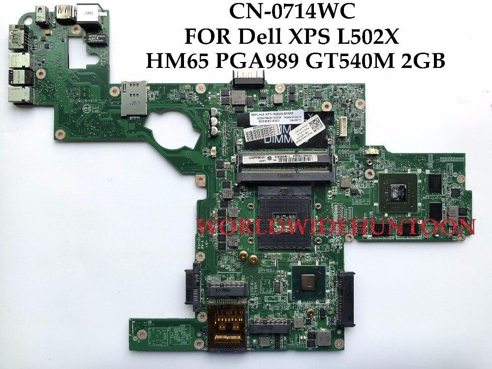 Высококачественная материнская плата для ноутбука Dell XPS L502X, 714WC PGA989 HM65 DDR3 GT540M, 2 Гб, поддержка процессора I7, только полностью протестирована