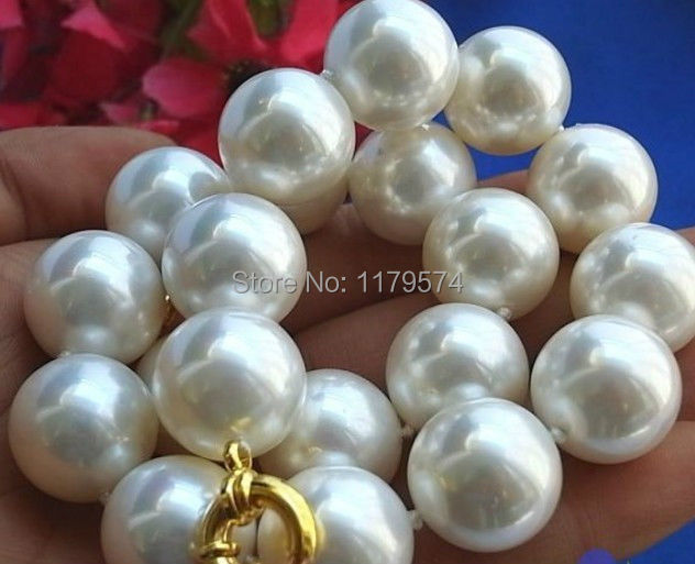 14MM White AAA South Sea Shell Pearl Round Beads Necklace Bracelet Set 18/'/'