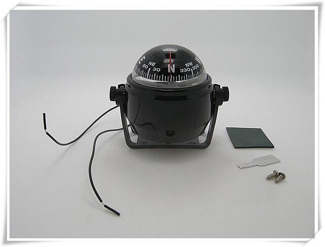 Luz de bússola para navegação led marinha, 12v, branco/preto, barco, iate