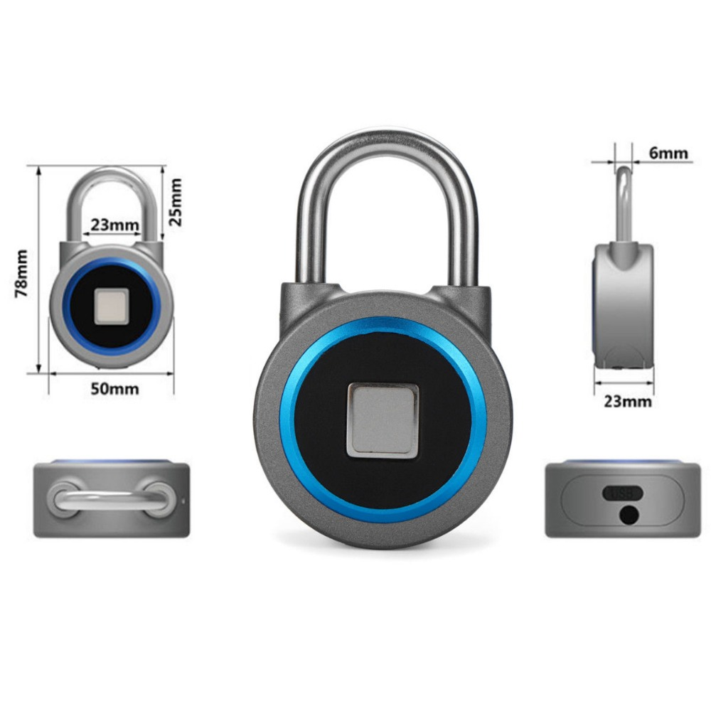 GOLDEN SECURITY Portable and Waterproof Smart Fingerprint Padlock with APP Control and Bluetooth 4