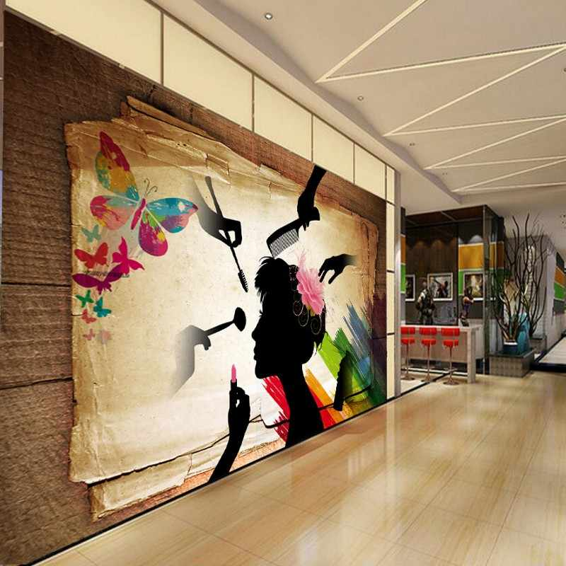 Пользовательские фото обои ретро силуэт красочные салон красоты декоративный фон стены на заказ обои фрески