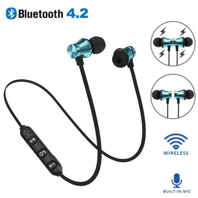XT11 Sports Wireless Bluetooth Earphones Stereo Headset Waterproof Magnetic Earpiece Headphones With Mic for iPhone Android magnetic attraction bluetooth earphone headset waterproof sports 4.2