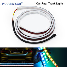 MODERN CAR Rear Trunk Lights 120/150CM Multicolor RGB Tail Box Light Dynamic Streamer Brake Turn Signal Warning LED Strip Lamp(China)