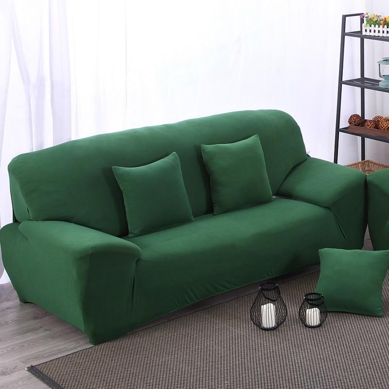 Funda De Sofa Elastico Verde Oscuro Tela Cojines Elasticos Sillon