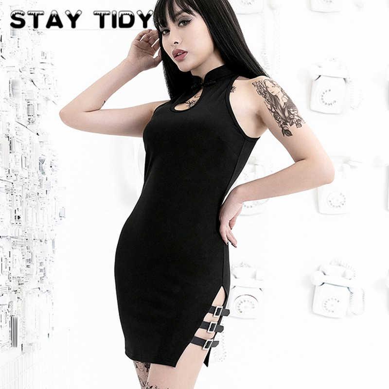 Оставайтесь аккуратные пикантные черные сапоги с открытыми плечами платье Чонсам Летнее мини-платье с Для женщин 2019 Лето боковой ремень лоскутное Открытое платье в стиле панк; вечерние платья
