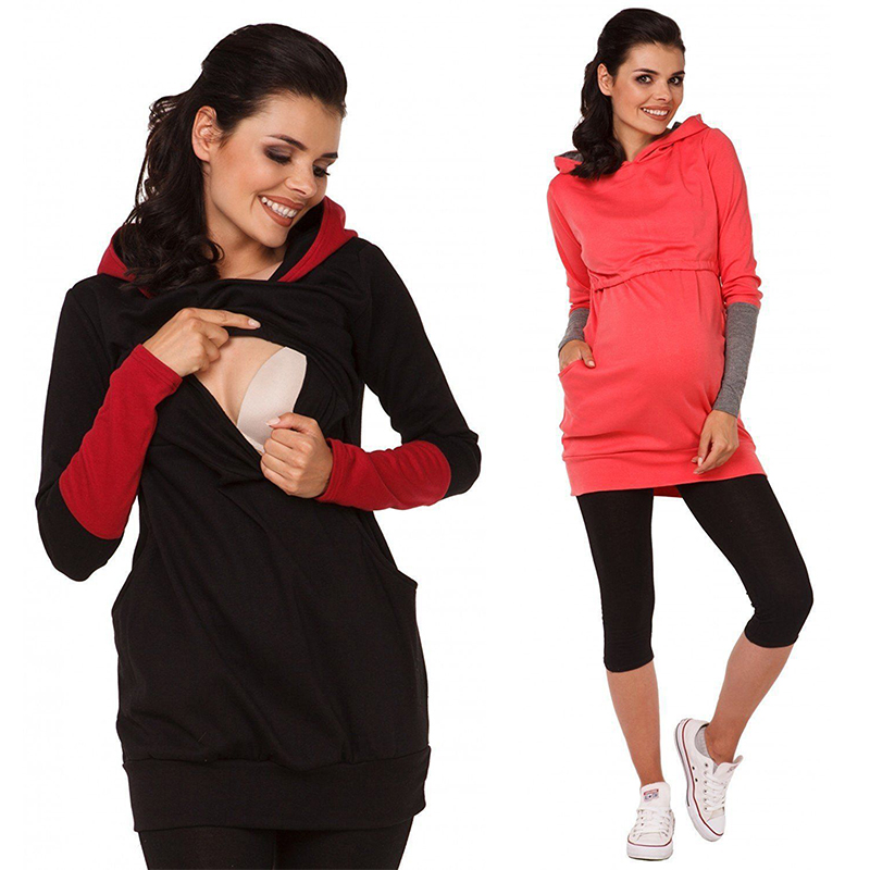 Nursing Sweatshirt Hoodie Women Long Sleeve Breastfeeding Shirt Winter For Feeding Maternity Pregnancy Clothes Plus Size