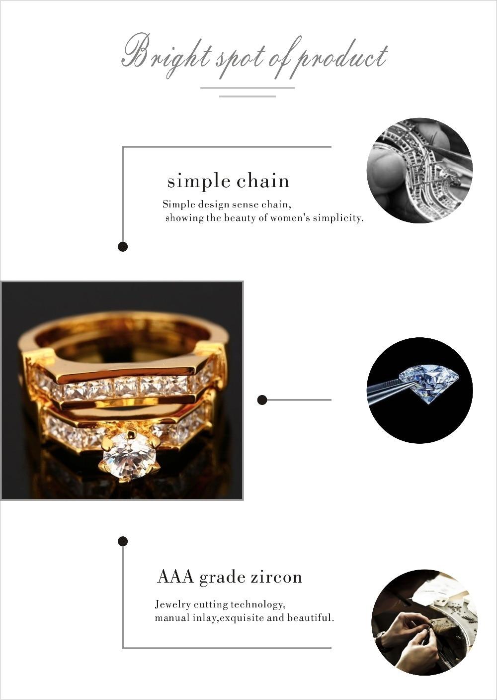 9f293271f جديد الأزياء الخطبة للنساء الزفاف الذهب اللون معبأ لامعة زركونيا خاتم  الخطوبة