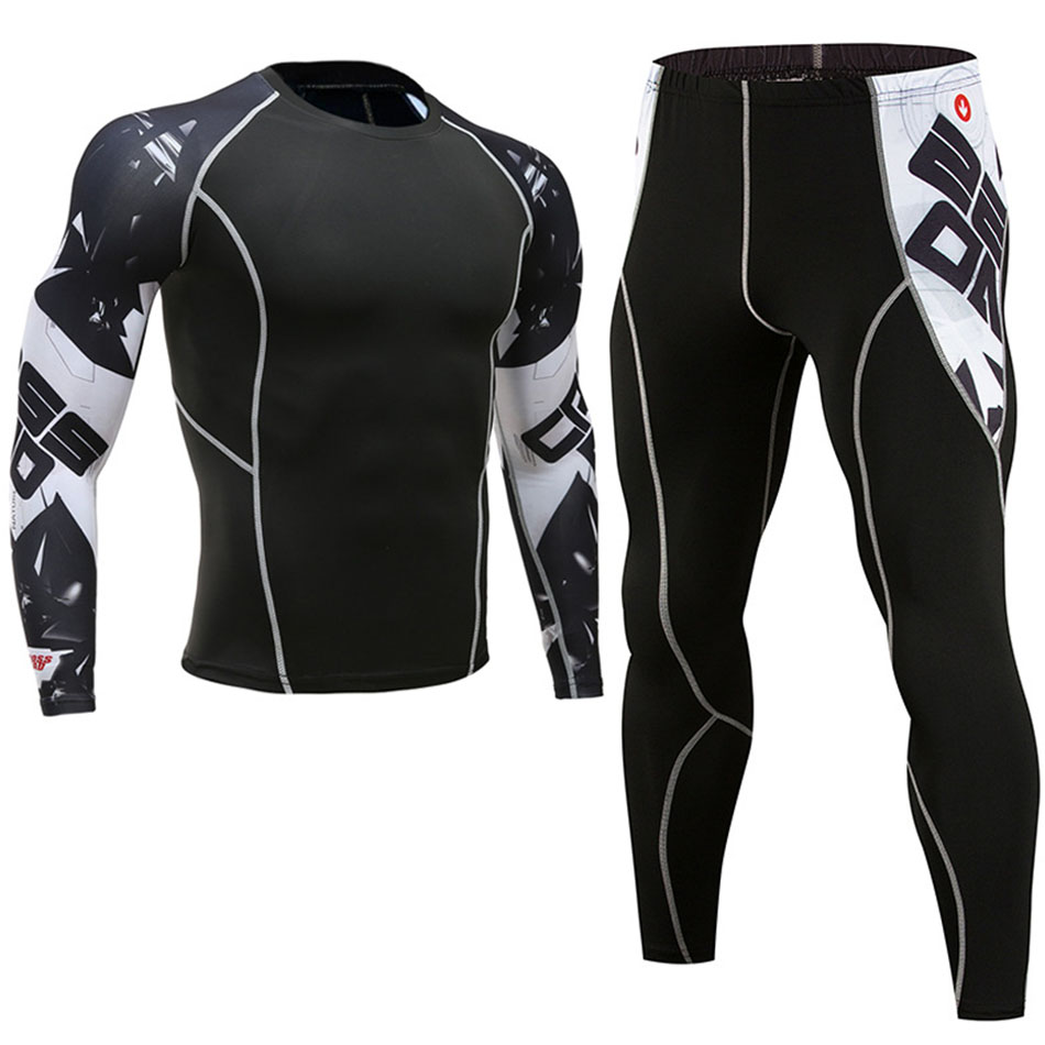 MMA Boxing Compression Sport Suit For Men Mma Rashguard Muay Thai T Shirt+Pants Long Sleeve Bjj Tights Workout Sports Tracksuit