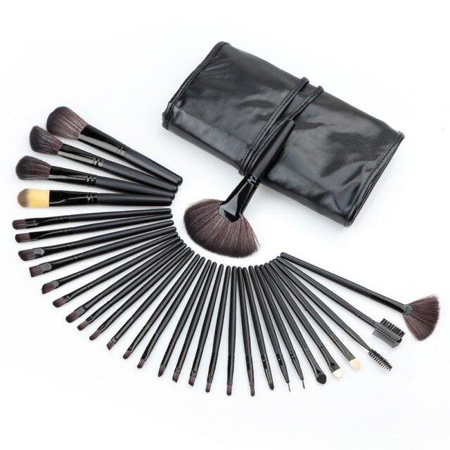 Профессиональный 32 ШТ. Косметическая Сделать Лице до Кисти Комплект Шерсть Макияж Кисти Инструменты Набор с Черный Кожаный Чехол