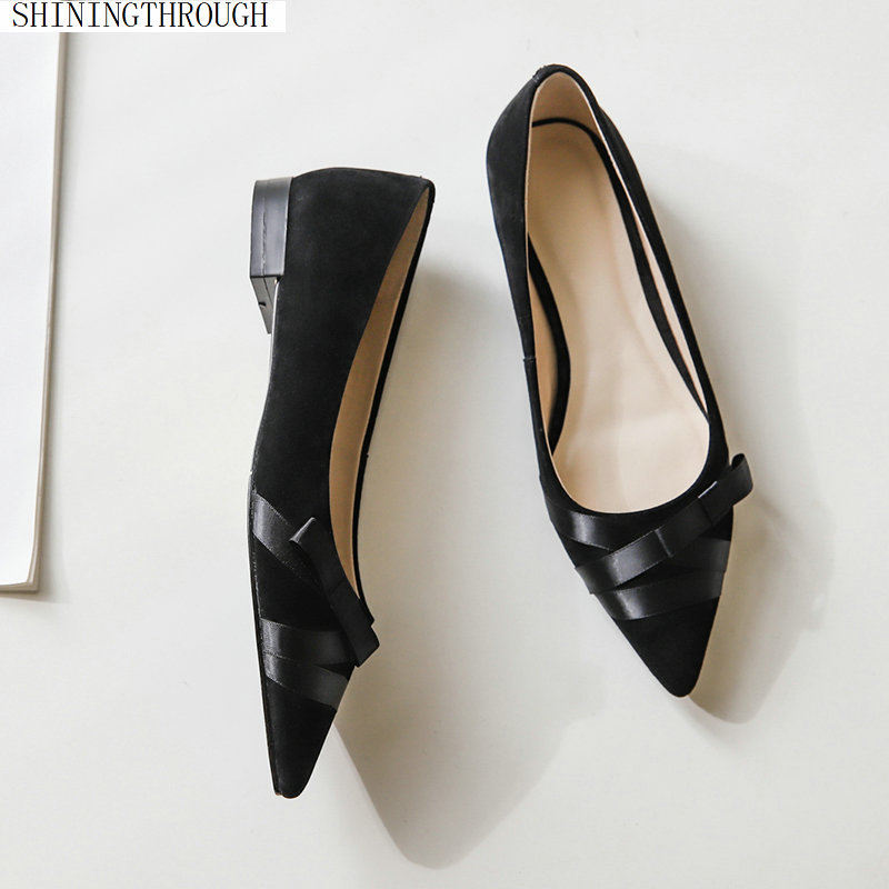 Women suede leather shoes Low Heels Square Gladiator Studded Shoes Sexy Ballet bowties Shoes woman