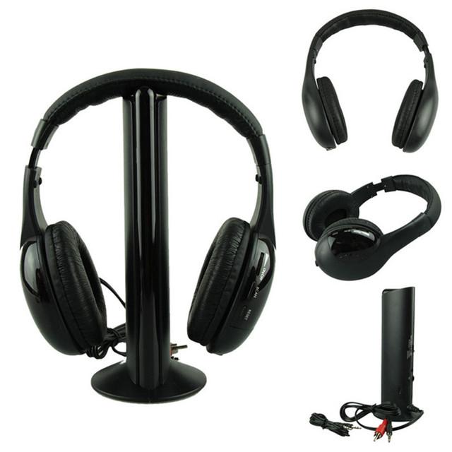 Mejor Precio Auriculares CALIENTE 5IN1 Auriculares Inalámbricos Casque Audio Sans Fil Ecouteur Hi-Fi Radio FM TV MP3 MP4 de alta calidad 25jan13