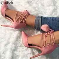 Gullick Pom Pom Decor High Heel Pumps Pink Pointed Toe Ankle Lace Up Strappy Sandals For