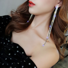 DREJEW Korean Long Tassel Rhinestone Statement Earrings Fashion Silver Gold 925 Drop for Women Wedding Jewelry HE007