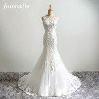 Fansmile New Arrival Korean Lace Mermaid Wedding Dresses 2017 Vestido De Noiva Plus Size Bridal Dress