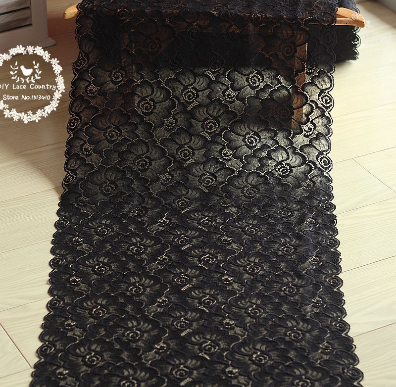 Freeshipping 35cm wide 1yds black Hair Decoration Wide Elastic Stretch Lace Trim wedding dress skirt lace trim