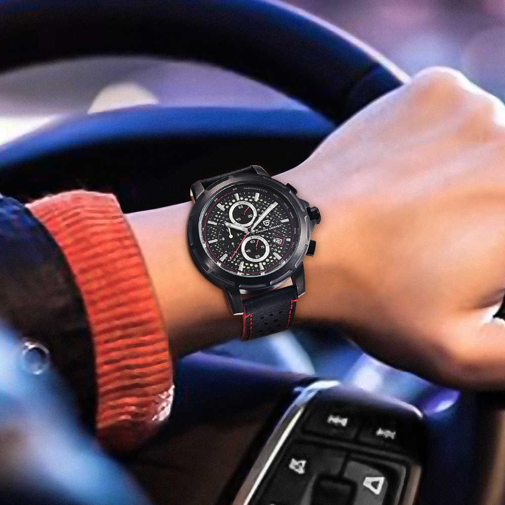 パガーニデザイン 2019 新ファッションクォーツ時計男性本革 Saat 防水発光クロノグラフ腕時計サポートドロップシッピング