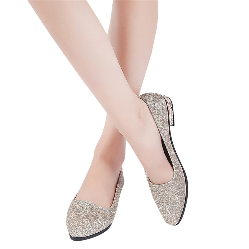 2018 Spring New Ladies Flat Shoes Casual Women Ballet Shoes With low Heel Comfortable Pointed Toe Flat women Loafers shoes #40A sweet women s flat shoes with pointed toe and two piece design