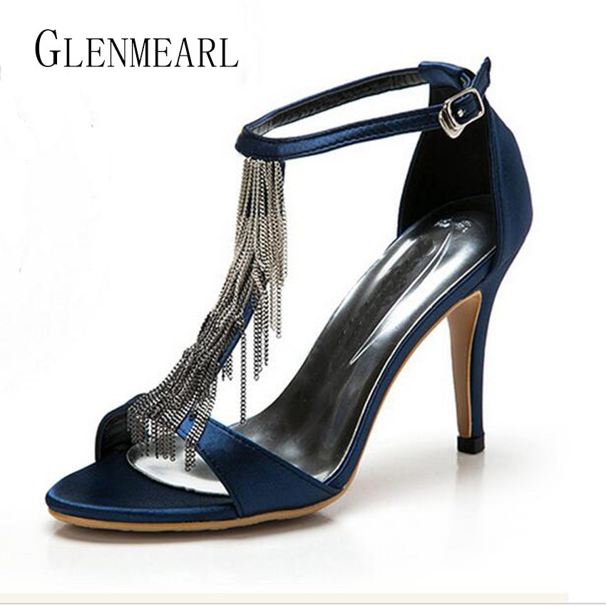 2018 Summer Sexy Stiletto High Heel Women's Sandals Shoes Pumps Black Fringe Peep-toe High heels Wedding Sandals Party Shoes 20 dijigirls women pumps peep toe high heels gladiator sandals shoes woman party wedding flock leather stiletto lace up summer boot