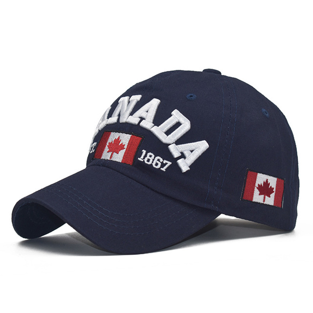 LADUNDI Canada Cap 3d Embroidery Canada Maple Leaf Baseball Caps Cotton Adjustable Snapback Hat Caps Casual Hats