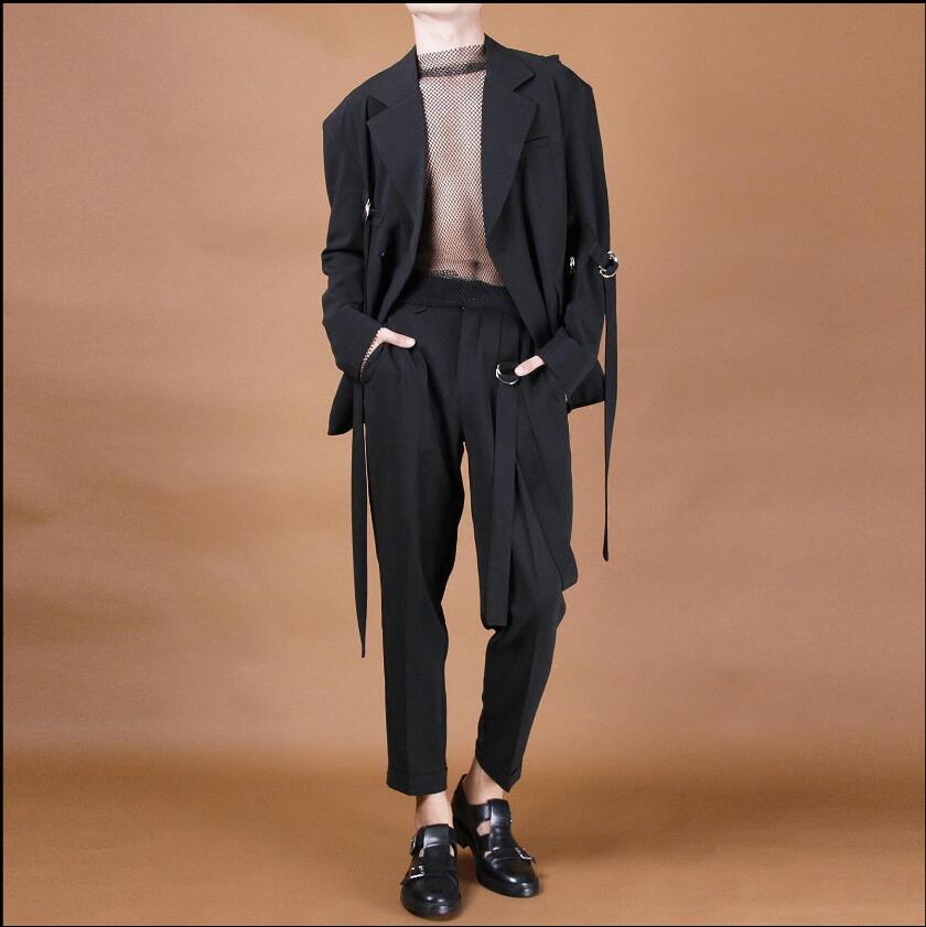Chanteur Décoré Coiffeur Nouveau Et 44 Neuf Printemps D'été Conique Noir Irrégulière Mi Pantalon Pieds Taille Costumes 27 Points Hommes c0qa7Bwq1
