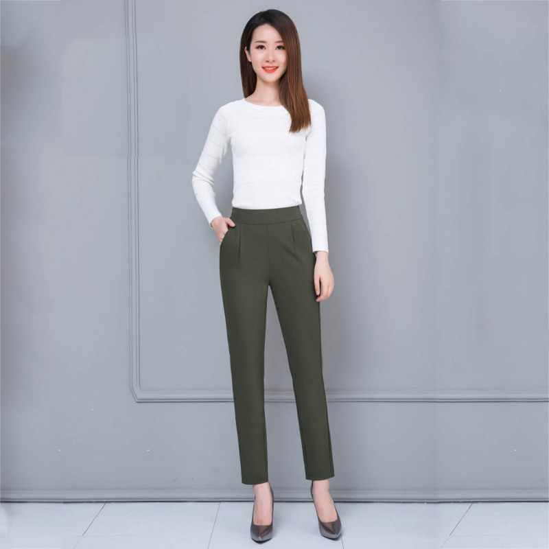 Sonbahar kadınlar uzun pantolon harem pantolon moda elastik bel rahat ince kadın pantolon iş elbisesi ofis Lady için