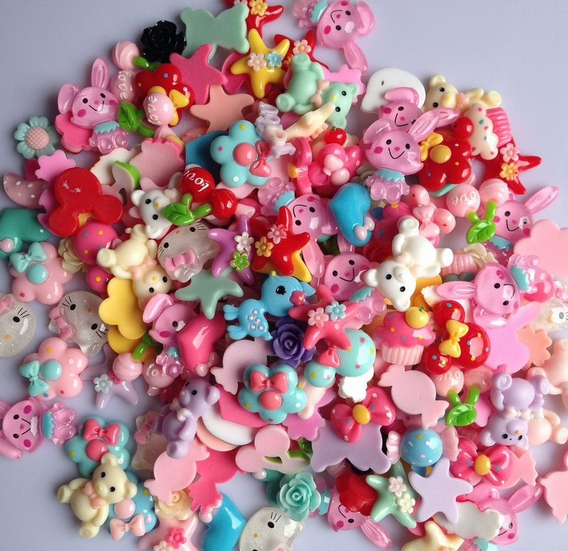 50pcs mixed color flat back resin buttons children s diy hair