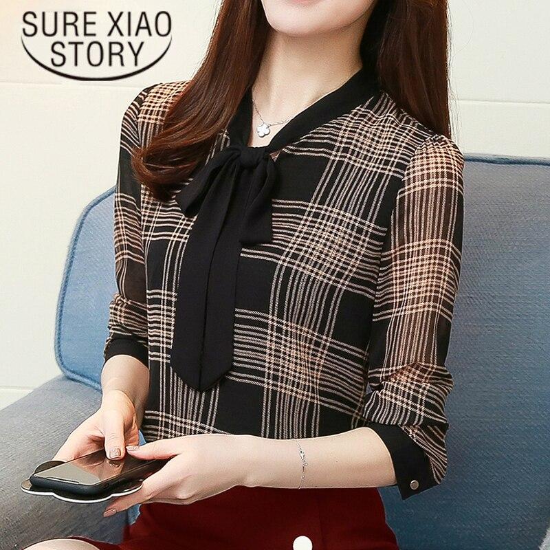 plus size chiffon blouse shirt striped long sleeve shirt women OL blouse fashion woman blouses 2018 women tops blusas 1199 40