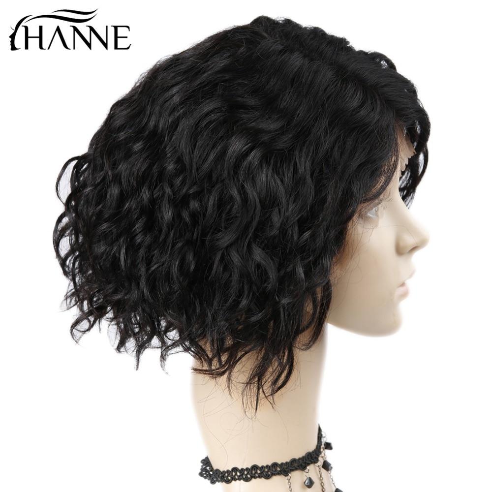 HANNE Renda Depan Wig Rambut Manusia Untuk Wanita Alami Hitam Pra - Pasokan kecantikan - Foto 6