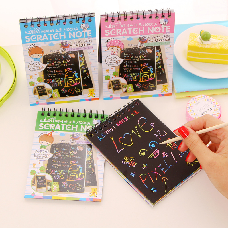 1 Pc Black Cardboard DIY Scratch Note Book Graffiti Drawing Scribble Sketch Notebook Kid Fun Gift  Magic Toy Memo Pad Stationery