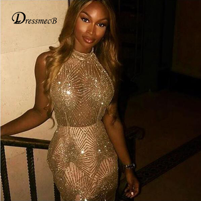 DRESSMECB Sequin Sexy Summer Dress Women Mini Backless Dress Lady Hollow  Out Sleeveless Party Dress Vestidos Verano 2018 96698c1e2b6c