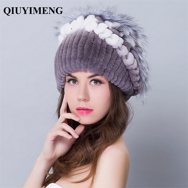 09e2a634f4c Women s Hats Caps Florar Design Headdresses Female Thick Beanie ladies 2016  New Hot Rabbit Fur Beanies