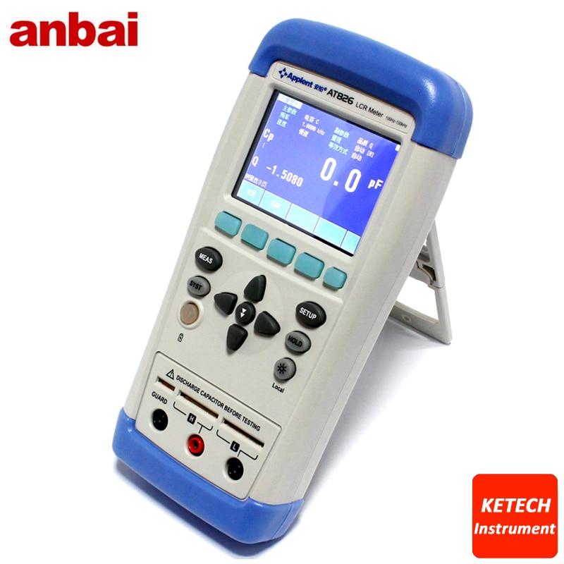 AT825 numérique Portable haute précision LCR mètre 10 KHz L C R Q D Z Theta ESR testeur TFT LCD écran tactile USB AC100-240V