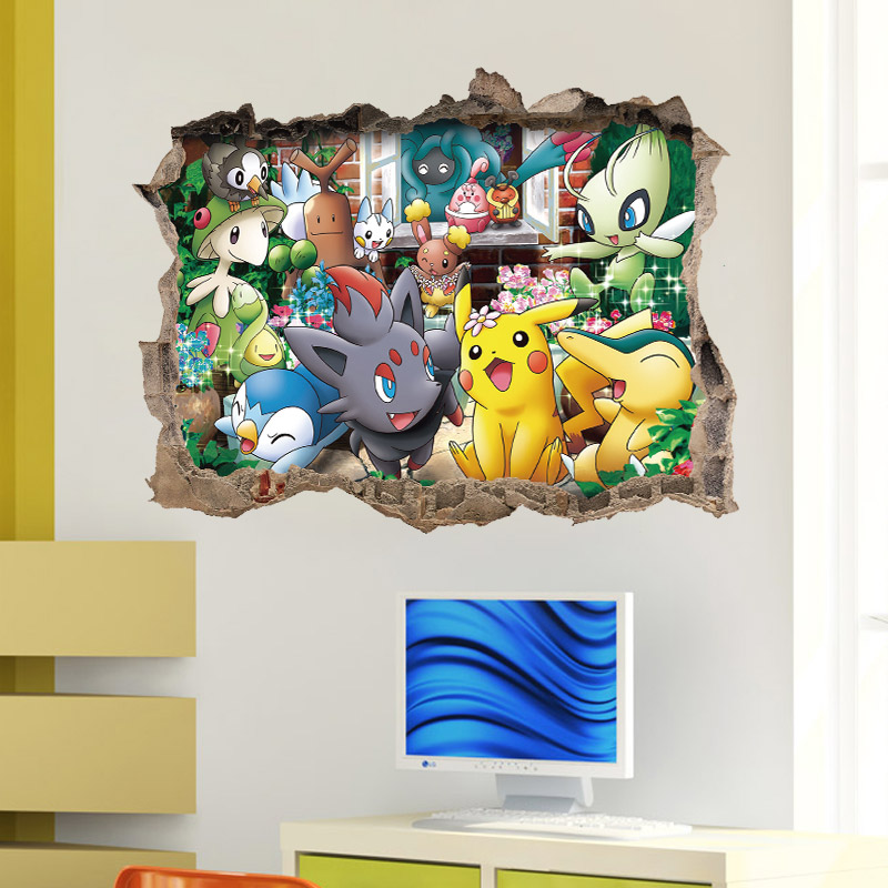 Pocket Monster Pokemon Go Pikachu Diguda Diglett home decals 3D windown wall sticker world famous cartoon game for kids room