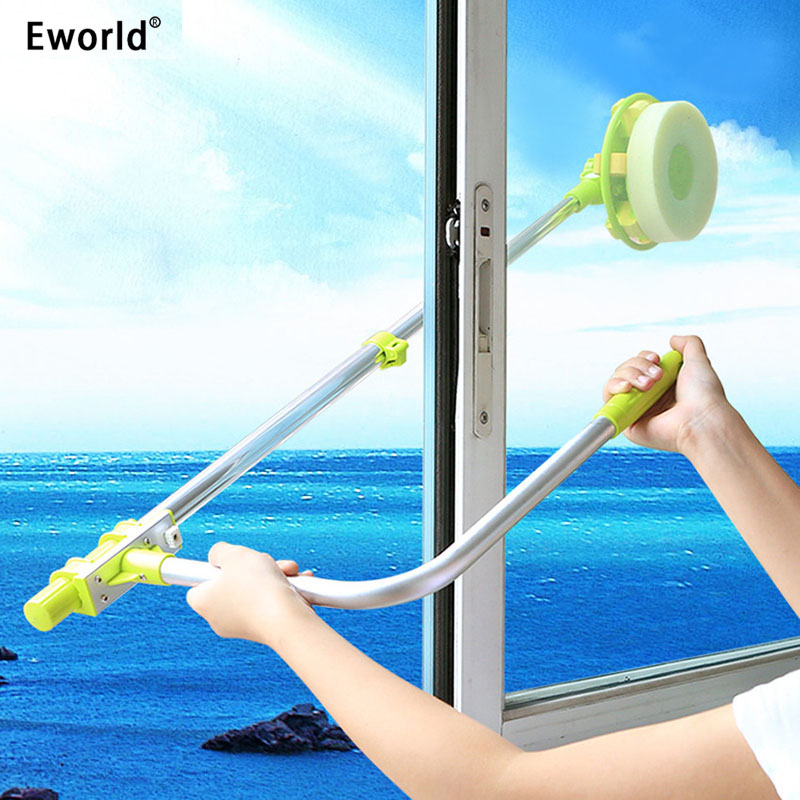Eworld Hot Przydatne teleskopowe wysokie okno do czyszczenia szkła Cleaner Brush do mycia okien pyłu Brush Clean Windows Hobot