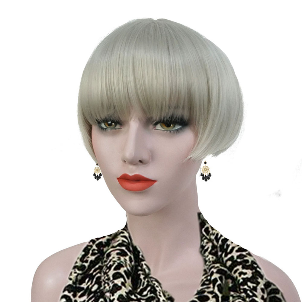 StrongBeauty 1920'S 20S Adult Roaring Flapper Jazz Gatsby Short Bob Costume Wig  Synthetic Wigs White
