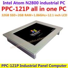 Все В Одном Компьютере 12.1 дюймов Intel atom N2800 промышленная группа pc с сенсорным экраном сопротивления 32 Г SSD 2 Г RAM доступные пк