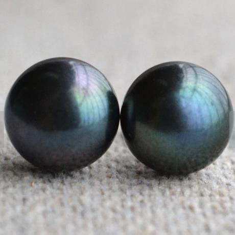 Perfect Pearl Jewelry,AAA 10-10.5MM Black Color Real Freshwater Pearl Stud Earrings,925 Sterling Silver Earring,Party Jewelry.