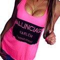 2017 Женщин Бак Сплошной Цвет Без Рукавов Письмо Печати Сексуальная спинки топ Повседневная футболка Женщины Жилет топы роковой Плюс размер XL