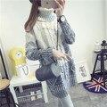 De DoveGirls sección larga de cuello alto suéter grueso vestido de suéter versión Coreana de la afluencia de invierno de cobertura suéter grueso
