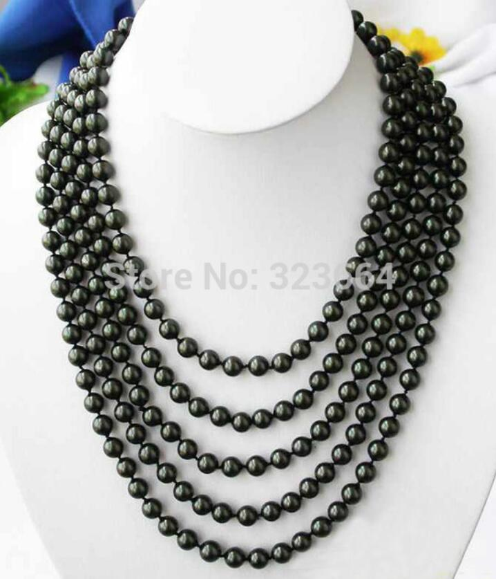 LONG 100 8MM BLACK SOUTH SEA SHELL PEARL NECKLACE
