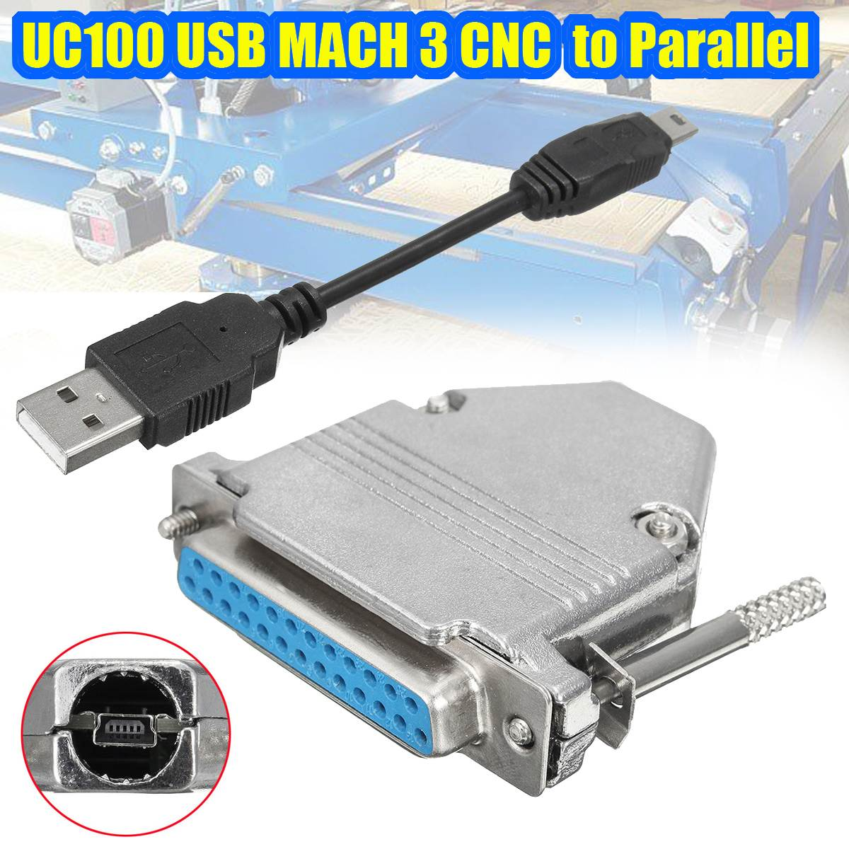 CNC Engraving Machine Parts USB to Parallel Adapter CNC Router Controller For MACH3-LY-USB100 With USB Line acctek mini engraving router machine akg6090 square rails mach 3 system usb connection