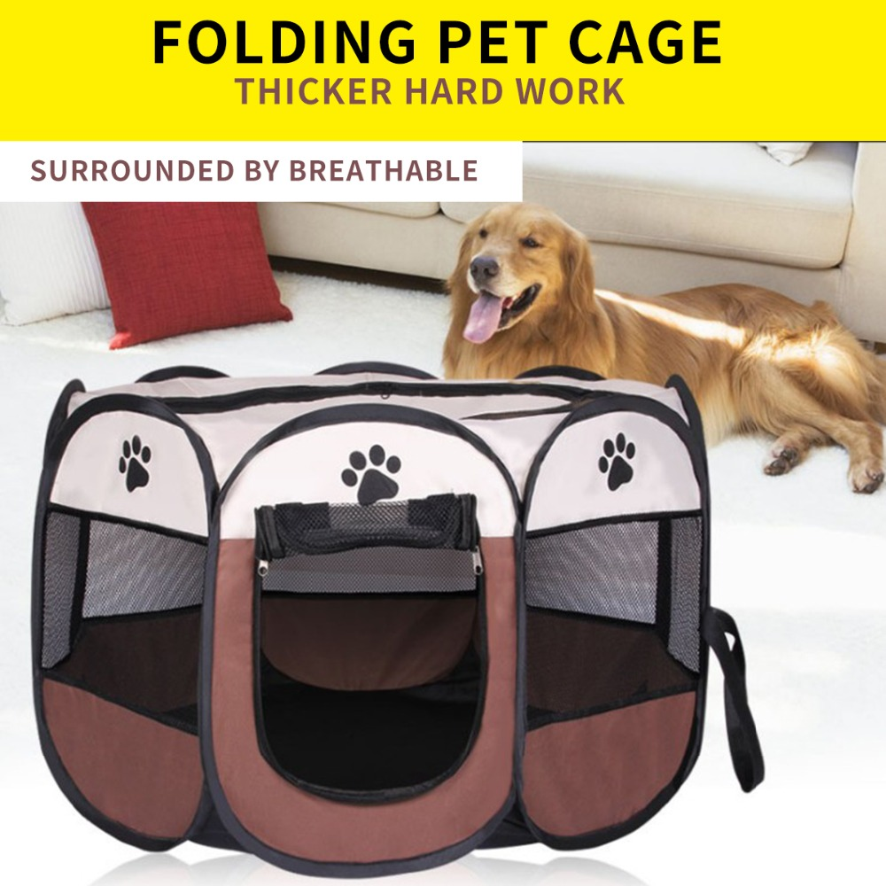 2 Sizes Portable Pet Cat Dog House Cage Folding Dog Outdoor Bed Tent Breathable Big Space Kennel For Small Medium Dogs|Houses  Kennels & Pens|Home & Garden - title=