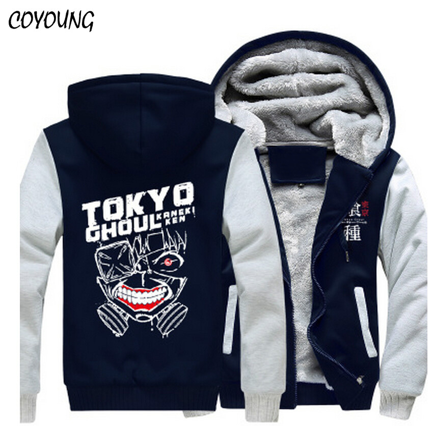 Free Shipping USA size Men Hoodies Anime Tokyo Ghoul Ken Kaneki Hoody Customized Zipper Coat Clothing Thicken Fleece Jacket