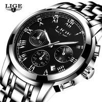 2017 New Men Watches Luxury Brand LIGE Chronograph Men Sports Watches Waterproof Leather Quartz Man Watch