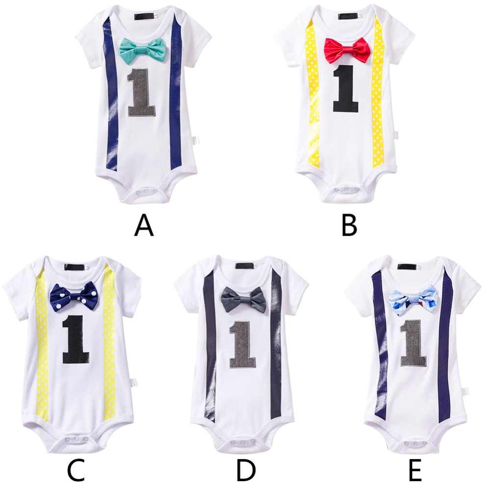 8469c24978ee9 Baby Girls Boy 1st Birthday Party Bow Tie Romper Jumpsuit One Year One  Piece Outfit Clothes Fashion Cake Smash Baby Clothes
