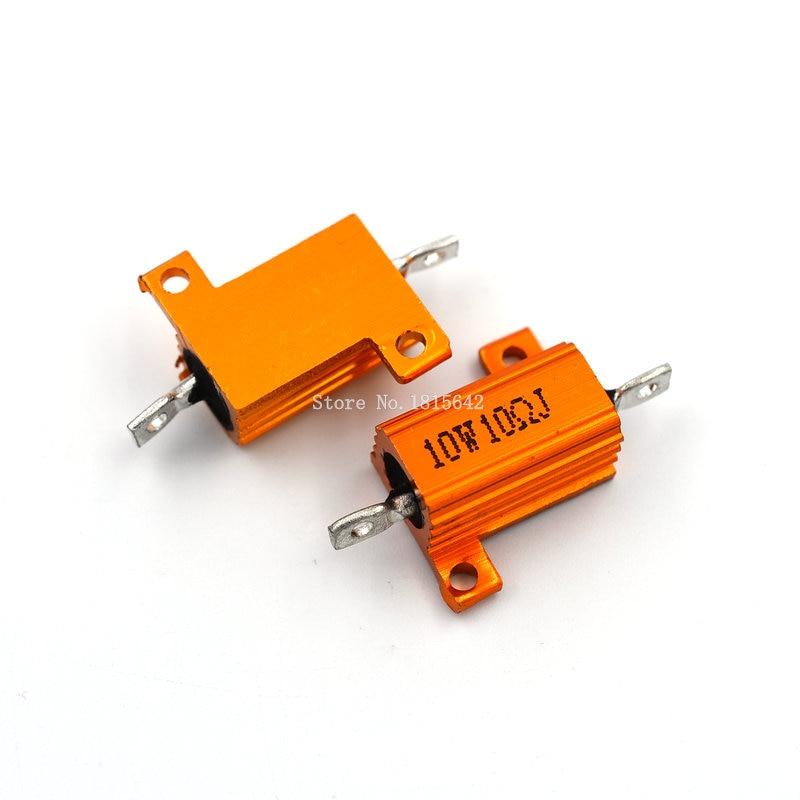2 шт. RX24 10 Вт 10R 10RJ проволочный резистор, металлический корпус, алюминиевый золотистый резистор 10 Вт 10 Ом, сопротивление радиатору