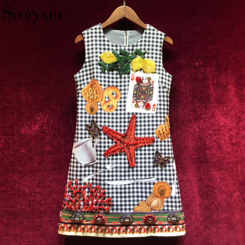 Svoryxiu Runway Vintage Houndstooth Short Dress Womens luxurious Beading Diamonds Starfish Poker Cards Print Sleeveless Dress